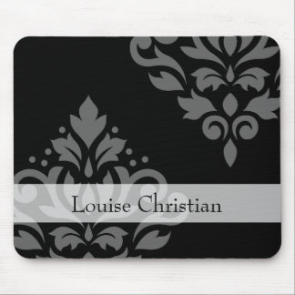 Scroll Damask Art I Gray on Black (Personalized) Mouse Pad