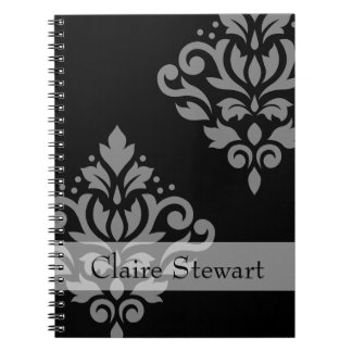Scroll Damask Art I Gray on Black (Personalized) Notebook