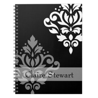 Scroll Damask Art I Gray+Wt on Blk (Personalized) Notebook