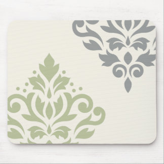 Scroll Damask Art I Green Gray Cream Mouse Pad