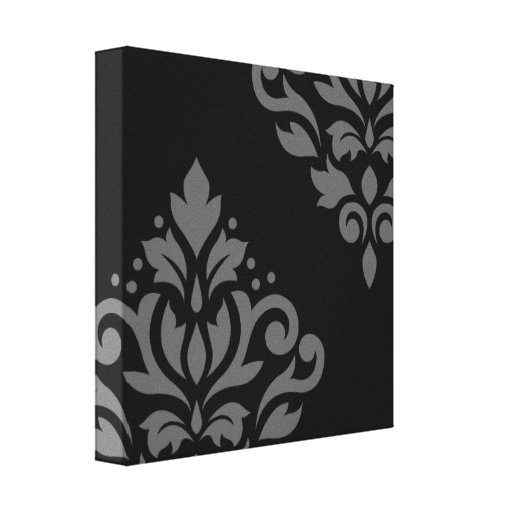 Scroll Damask Art I Grey on Black Stretched Canvas Print