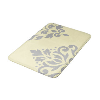 Scroll Damask Art I Grey on Yellow Bath Mat