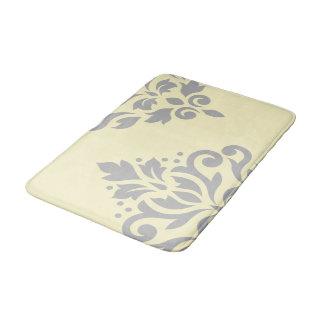 Scroll Damask Art I Grey on Yellow Bathroom Mat