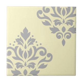 Scroll Damask Art I Grey on Yellow Ceramic Tiles