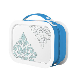 Scroll Damask Art I (line) Duck Egg Blue Gray Wt Lunch Box
