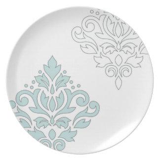 Scroll Damask Art I (line) Duck Egg Blue Gray Wt Plate