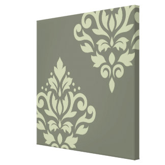 Scroll Damask Art I Lt on Dk Green Canvas Print
