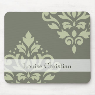 Scroll Damask Art I Lt on Dk Green (Personalized) Mouse Pad