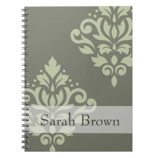 Scroll Damask Art I Lt on Dk Green (Personalized) Spiral Notebook