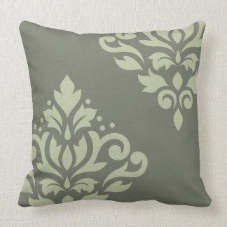 Scroll Damask Art I Lt on Dk Green Throw Pillow