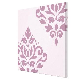 Scroll Damask Art I Mauve on Pink Canvas Print