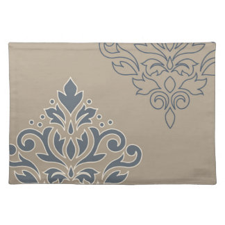 Scroll Damask Art I (outline) Cream Blues Sand Placemat