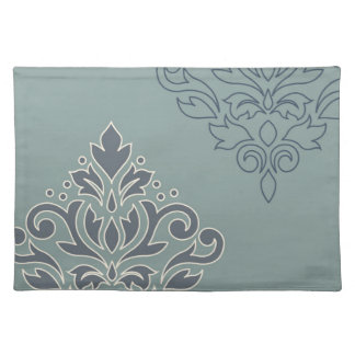 Scroll Damask Art I (outline) Cream Blues Teal Placemat