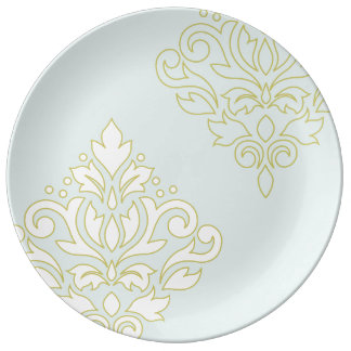 Scroll Damask Art I (outline) Wt Gld Lt Teal Plate
