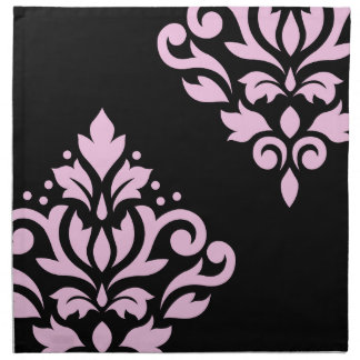Scroll Damask Art I Pink on Black Napkin