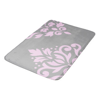 Scroll Damask Art I Pink on Grey Bath Mat