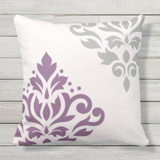 Scroll Damask Art I Plum & Grey on Cream Outdoor Pillow