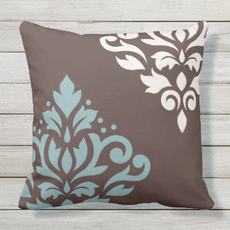 Scroll Damask Art I Teal Cream Brown Throw Pillow