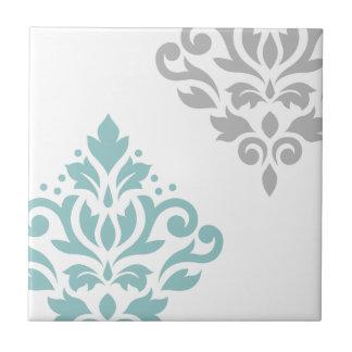 Scroll Damask Art I Teal & Grey on White Ceramic Tiles