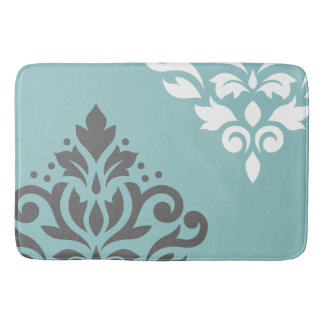 Scroll Damask Art I White & Grey on Light Teal Bath Mat