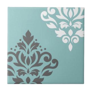 Scroll Damask Art I White & Grey on Light Teal Ceramic Tiles