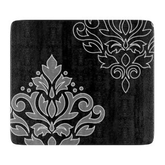 Scroll Damask Art I White Line Gray Black Cutting Board