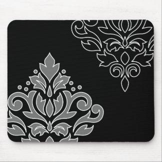 Scroll Damask Art I White Line Gray Black Mouse Pad