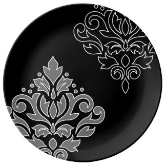 Scroll Damask Art I White Line Gray Black Plate