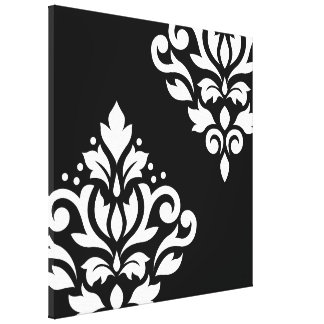 Scroll Damask Art I White on Black Stretched Canvas Print