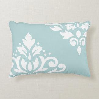 Scroll Damask Art I White on Duck Egg Blue (B) Decorative Pillow