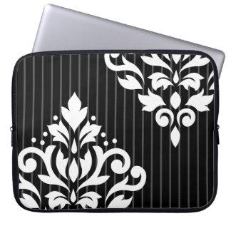 Scroll Damask Art I White on Gray Stripes & Black Laptop Sleeve