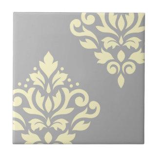Scroll Damask Art I Yellow on Grey Ceramic Tile