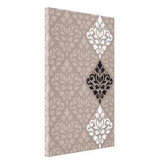 Scroll Damask Art Ptn Black White Taupes Canvas Print