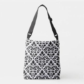 Scroll Damask Big Pattern Black on White Crossbody Bag