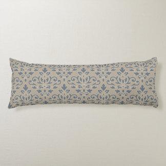 Scroll Damask Big Pattern Cream Line Blue Sand Body Pillow