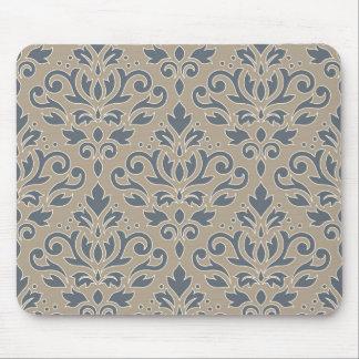 Scroll Damask Big Pattern Cream Line Blue Sand Mouse Pad