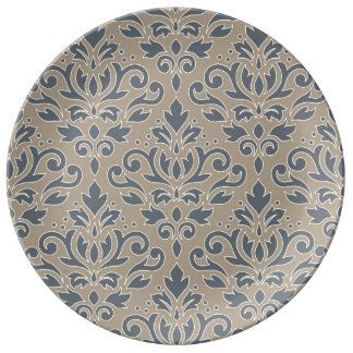 Scroll Damask Big Pattern Cream Line Blue Sand Plate