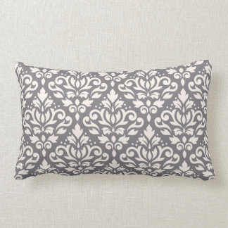 Scroll Damask Big Pattern Cream on Grey Lumbar Pillow