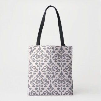 Scroll Damask Big Pattern Gray on Cream Tote Bag