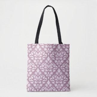 Scroll Damask Big Pattern Pink on Mauve Tote Bag