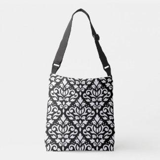 Scroll Damask Big Pattern White on Black Crossbody Bag