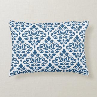Scroll Damask Big Ptn Dk Blue on White Decorative Pillow