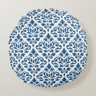 Scroll Damask Big Ptn Dk Blue on White Round Pillow