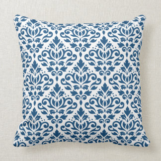 Scroll Damask Big Ptn Dk Blue on White Throw Pillow