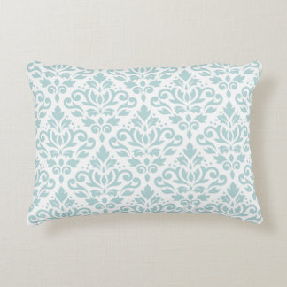 Scroll Damask Big Ptn Duck Egg Blue (B) on White Accent Pillow