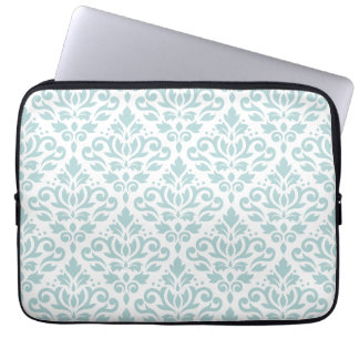 Scroll Damask Big Ptn Duck Egg Blue (B) on White Laptop Computer Sleeve