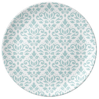 Scroll Damask Big Ptn Duck Egg Blue (B) on White Plate