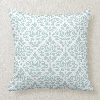 Scroll Damask Big Ptn Duck Egg Blue (B) on White Throw Pillow