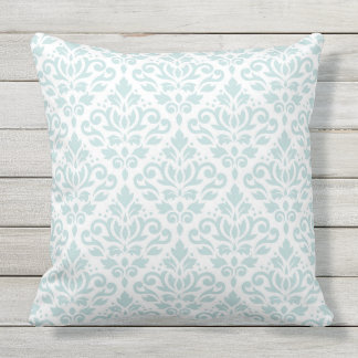 Scroll Damask Big Ptn Lt Duck Egg Blue on White Outdoor Pillow