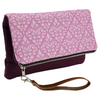Scroll Damask Big Ptn Lt on Dk Pink Clutch